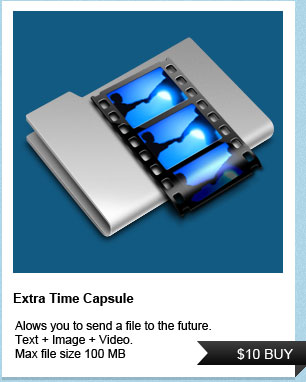 Allows you to send a file to the future.  Text + Image + Video.  Max file size 100 MB